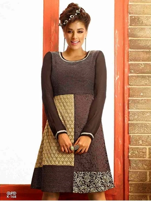 Picture of 168Brown and Beige Designer Kurti