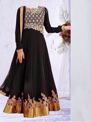 Picture of 03 Black and Golden Anarkali Suit Replica