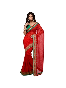Picture of 560 Red and Green Designer Saree