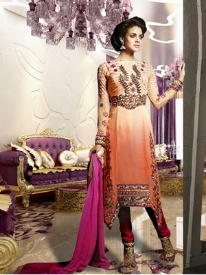 Picture of 8007Peach and Pink Designer Suit