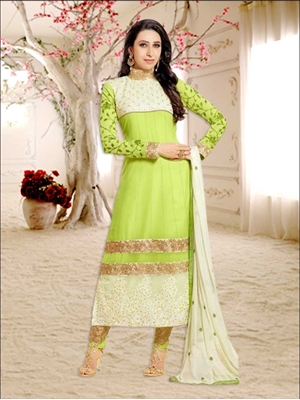 Picture of 50007Parrot Green and Ivory Anarkali Suit