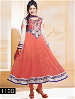 Picture of 1120 Peach and Ivory Anarkali Suit