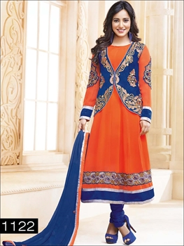 Picture of 1122 Orange and Blue Anarkali Suit