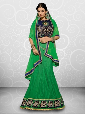 Picture of 4018Green and Blue Lehenga Choli