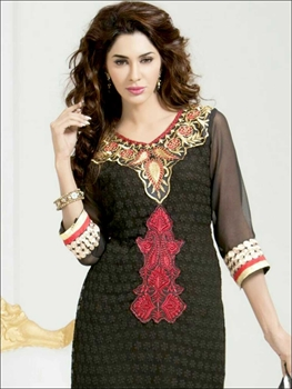 Picture of 26007Black and Maroon Red Straight Suit