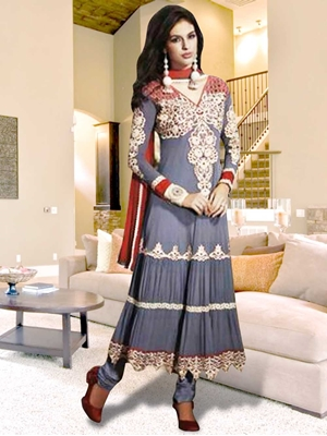 Picture of 7298Gray and Red Anarkali Suit