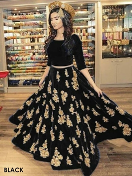 Picture of Black Taffeta Silk Traditional Wear Lehenga Choli