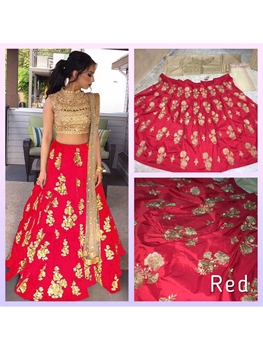 Picture of Red Designer Taffeta Silk Lehega Choli