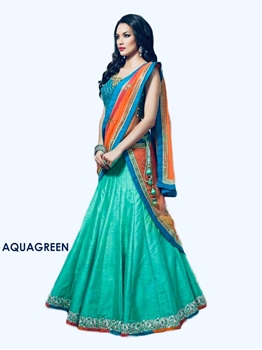 Picture of Aqua Green Banglory Silk Traditional Wear Lehenga Choli