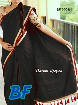 Picture of BF2006H Black Function Wear Chanderi Cotton Saree