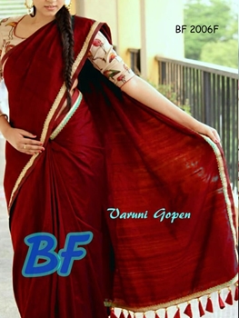 Picture of BF2006F Maroon Function Wear Chanderi Cotton Saree