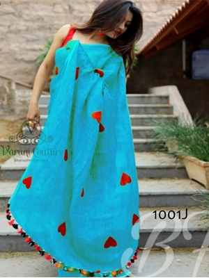 Picture of 1001J Sky Blue Trendy Function Wear Cotton Chanderi Saree