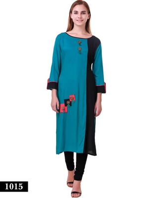 Picture of 1015 Sea Blue and Black Exclusive Designer Rayon XXL Size Long Kurti