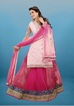 Picture of 3020Pink and Light Pink Lehenga Choli