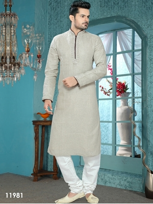 Picture of 11981 Light Grey and Off White Mens Ethnic Wear Kurta Pyjama