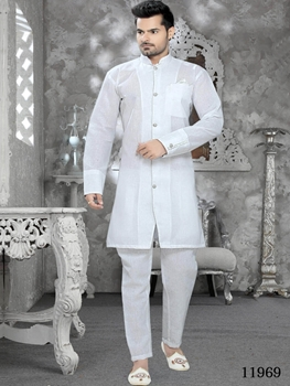 Picture of 11969 Off white Mens Ethnic Wear Kurta Pyjama