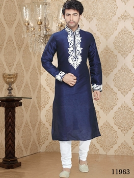 Picture of 11963 Royal Blue and Off white Mens Ethnic Wear  Kurta Pyjama