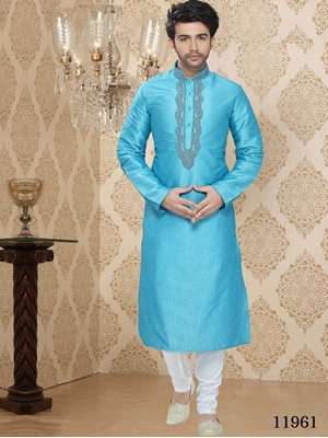 Picture of 11961 Sky Blue and Off White Mens Ethnic Wear  Kurta Pyjama