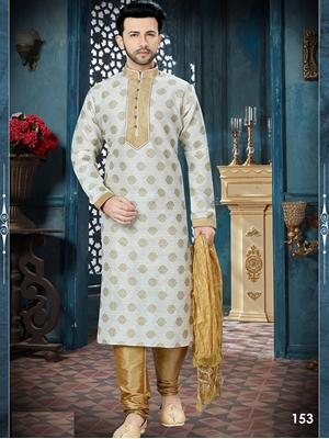 Picture of 153 Off White and Chikoo Readymade Kurta Pyjama