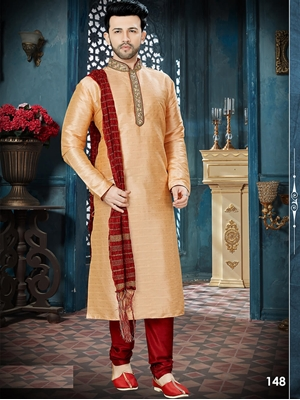 Picture of 148 2 Tone Peach and Maroon Readymade Kurta Pyjama
