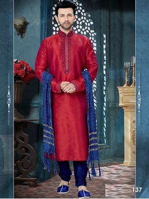 Picture of 137 Maroon and Royal Blue Readymade Kurta Pyjama