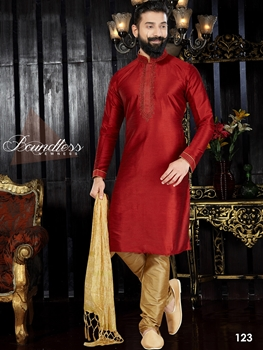 Picture of 123 Maroon and Chikoo Readymade Kurta Pyjama