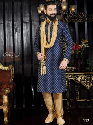 Picture of 117 Navy Blue and Chikoo Readymade Kurta Pyjama