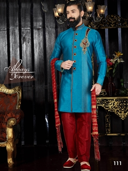 Picture of 111 Sky Blue and Maroon Readymade Kurta Pyjama