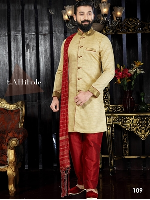 Picture of 109 Golden and Maroon Readymade Kurta Pyjama