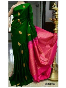 Picture of 013 Exclusive Golden Zari Digital Printed Saree With Running Blouse
