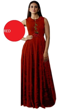 Picture of Red Designer XXL Size Western Wear Gown