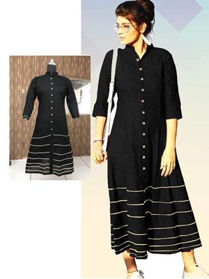 Picture of 01 Black Designer XXL Size Long Cotton Kurti