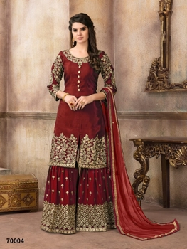 Picture of A 70004 Red Designer Sharara Suit