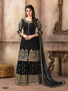 Picture of A 70001 Black Designer Sharara Suit
