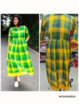Picture of MF1008 Green XXL Size South Cotton Kurti Collection
