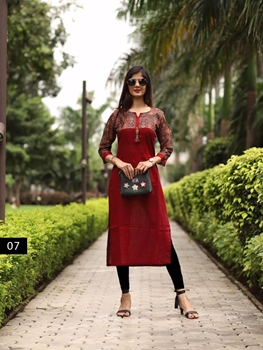 Picture of 07 Maroon Heavy Cotton XXL Size Designer Kurti Collection