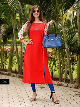 Picture of 06 Red Heavy Cotton XL Size Designer Kurti Collection