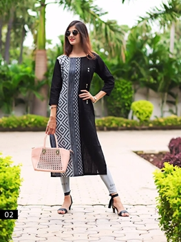 Picture of 02 Black Heavy Cotton XXL Size Designer Kurti Collection