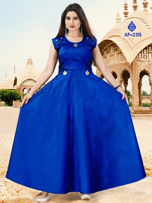 Picture of AP2105 Blue XL Size Satin Taffeta Full Stitched Gown