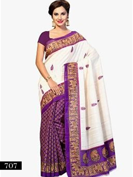 Picture of 707 Cream and Purple Designer Bhagalpuri Silk Saree