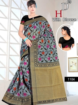 Picture of 1104 Steel Blue and Black Designer Bhagalpuri Silk Saree