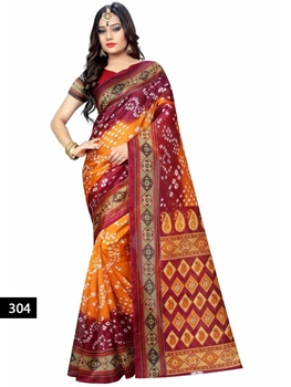 Picture of 304 Brown and Orange Designer Bhagalpuri Silk Saree