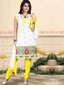 Picture of 1002 White and Yellow Daily Wear Chanderi Salwar Suit