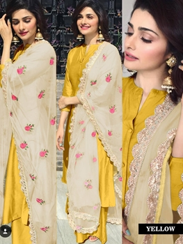 Picture of Yellow Designer Stitched Plazo Suit