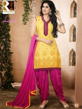 Picture of 02 Yellow Designer Cotton Straight Suit