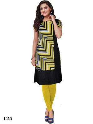 Picture of 125 Yellow Designer Party Wear L Size Stitched Kurti