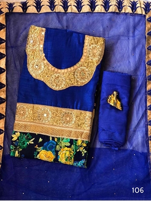 Picture of 106 Blue Designer Banglory Satin Silk Anarkali Suit