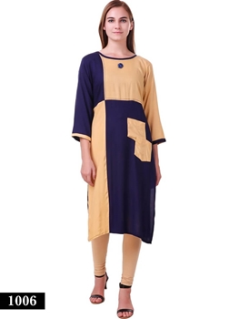 Picture of 1006 Ivory Exclusive Designer Rayon XL Size Long Kurti