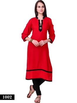 Picture of 1002 Red and Black Exclusive Designer Rayon XL Size Long Kurti