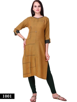 Picture of 1001 Brown Exclusive Designer Rayon XL Size Long Kurti